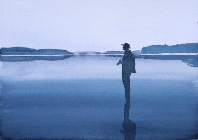 """Eero on the frozen sea"". 21x15cm. Watercolour."